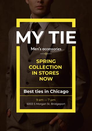 Tie store Ad with Handsome Man Posterデザインテンプレート