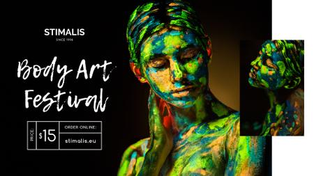 Modèle de visuel Body Art Festival фnnouncement Woman in Paint - FB event cover