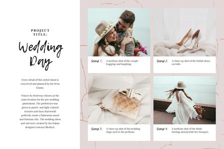 Happy Couple with Wedding attributes Storyboard Modelo de Design