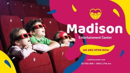 Kids watching Cinema in 3d Glasses FB event cover – шаблон для дизайну
