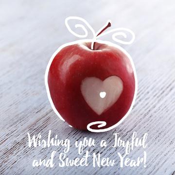 Rosh Hashanah apple with heart symbol