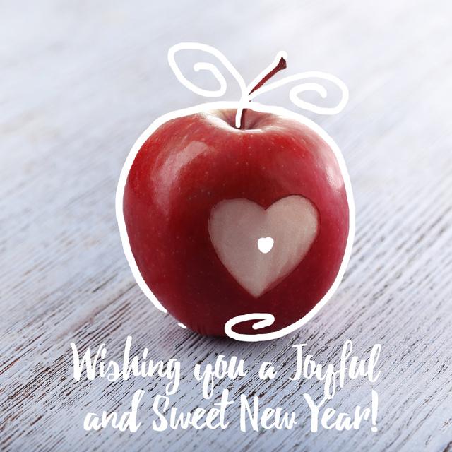 Plantilla de diseño de Rosh Hashanah apple with heart symbol Animated Post
