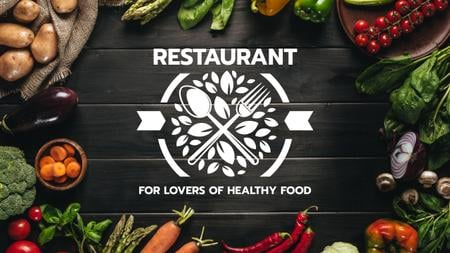Healthy Food Menu in Vegetables Frame Youtube Design Template