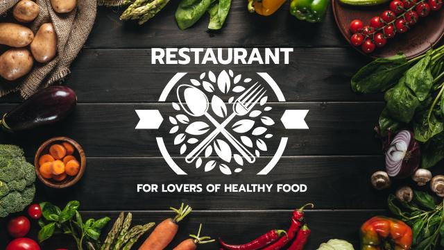 Healthy Food Menu in Vegetables Frame Youtube Tasarım Şablonu