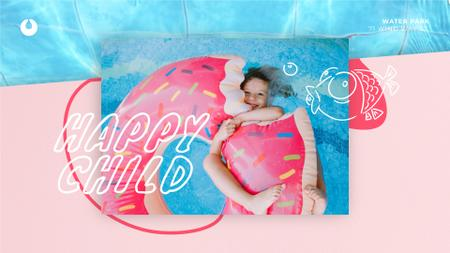 Plantilla de diseño de Girl swimming in pool Full HD video