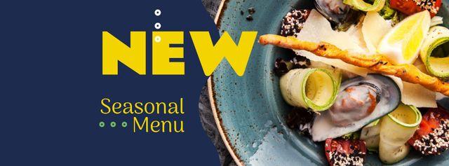 Plantilla de diseño de Seasonal Menu dish with Seafood Facebook cover