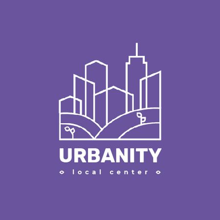 Urban Planning Company Building Silhouette in Purple Animated Logoデザインテンプレート
