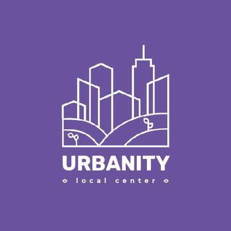 Plantilla de diseño de Urban Planning Company Building Silhouette in Purple Animated Logo