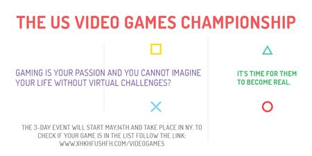 Video games Championship Twitter Modelo de Design
