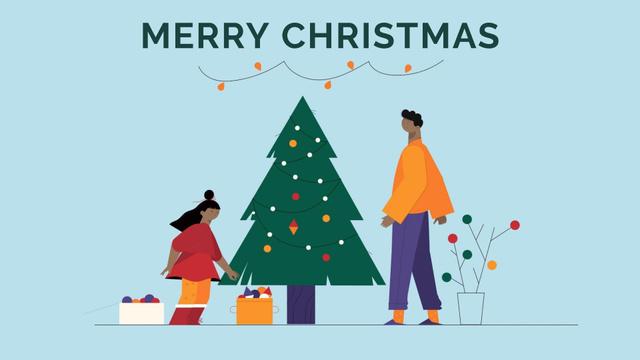Ontwerpsjabloon van Full HD video van People decorating Christmas tree