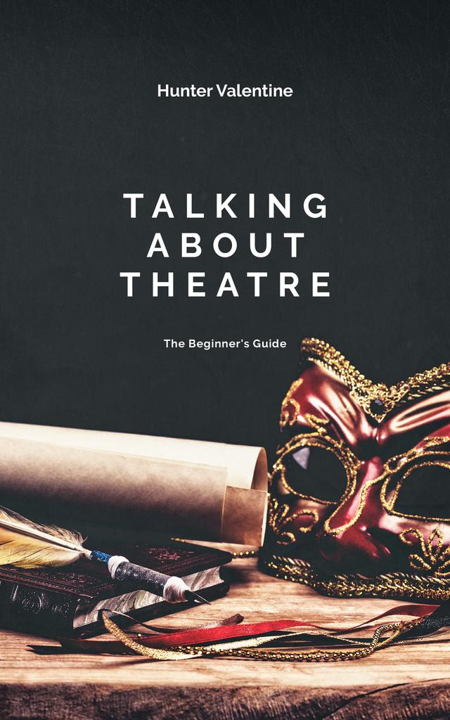 Theatrical Mask on Table Book Cover Modelo de Design