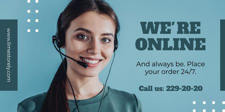 Plantilla de diseño de Online services Ad with Smiling Support Operator Twitter