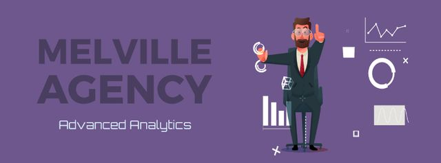 Businessman using analytics tools on smart screen Facebook Video cover Design Template