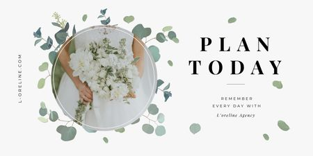 Plantilla de diseño de Bride with bouquet for Wedding Agency ad Twitter