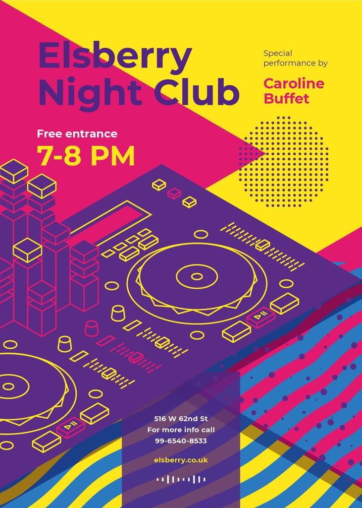Night Club Invitation Bright DJ Turntables — Create a Design