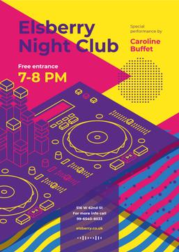 Night Club Invitation Bright DJ Turntables | Flyer Template