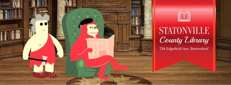 Reading ape and caveman in library Facebook Video cover Tasarım Şablonu