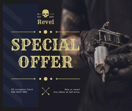 Plantilla de diseño de Tattoo Equipment offer Artist holding Machine Facebook