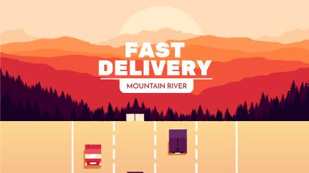 Plantilla de diseño de Delivery Service Cars and Trucks on Road Full HD video