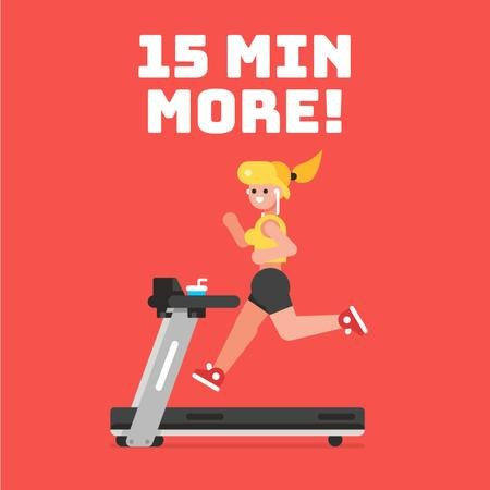 Gym Motivation with Girl on Treadmill in Red Animated Post Modelo de Design