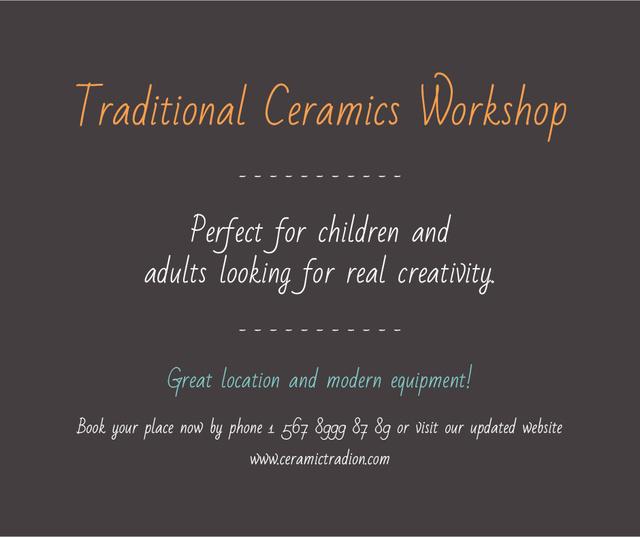 Traditional Ceramics Workshop promotion Facebook – шаблон для дизайну