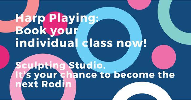 Sculpting Studio Offer on colorful pattern Facebook AD Modelo de Design