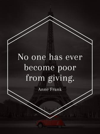 Charity Quote on Eiffel Tower view Poster US Modelo de Design