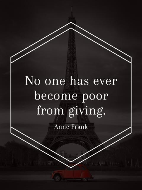Plantilla de diseño de Charity Quote on Eiffel Tower view Poster US