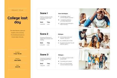 Plantilla de diseño de Students studying at School Storyboard