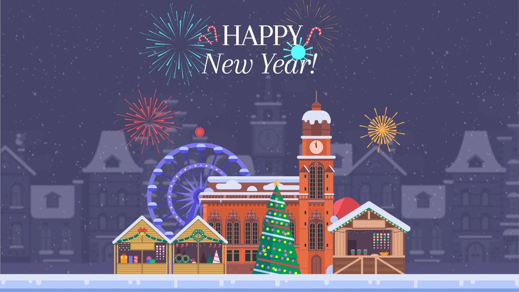 Fireworks over Christmas town — Create a Design