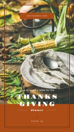 Plantilla de diseño de Thanksgiving feast concept with Corn on table Instagram Story