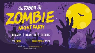 Halloween Party Invitation Zombie at Graveyard | Facebook Event Cover Template