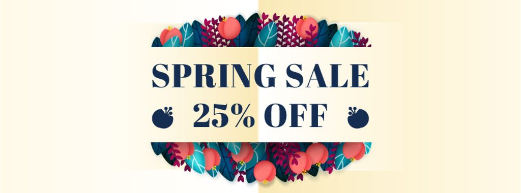 Spring sale Frame with flowers and leaves — Create a Design
