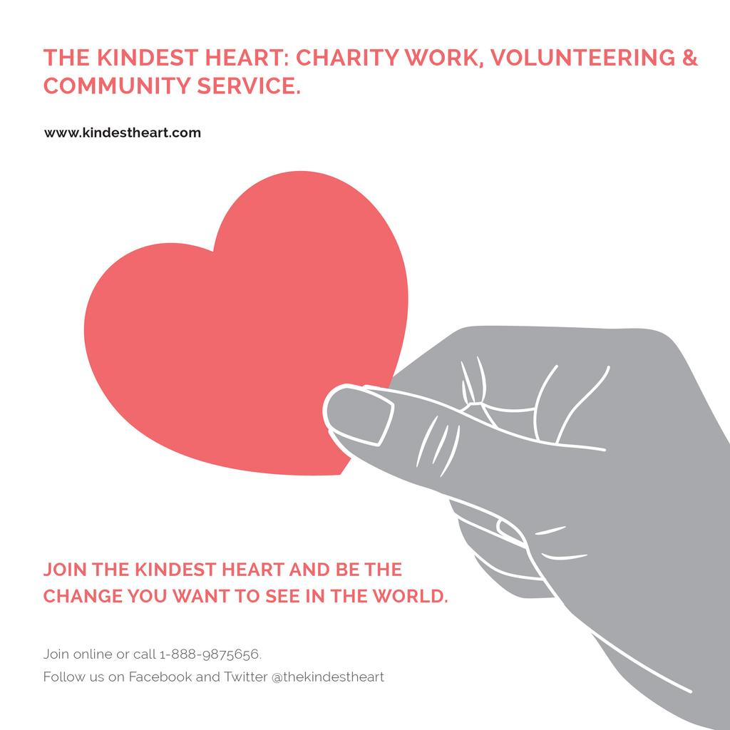 Charity Work with Hand holding Red Heart — Створити дизайн