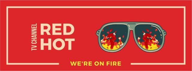 Plantilla de diseño de Sunglasses with burning flame Facebook Video cover