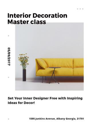 Plantilla de diseño de Interior decoration masterclass with Sofa in yellow Flayer