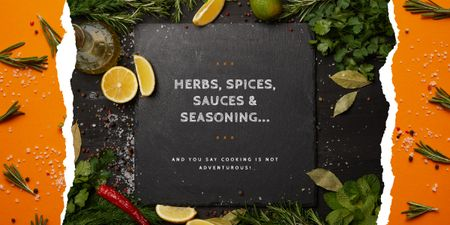 Template di design Herbs and spices on table Image