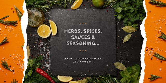 Herbs and spices on table Image Design Template