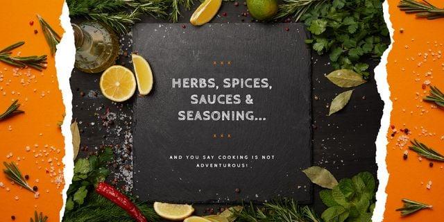 Plantilla de diseño de Herbs and spices on table Image