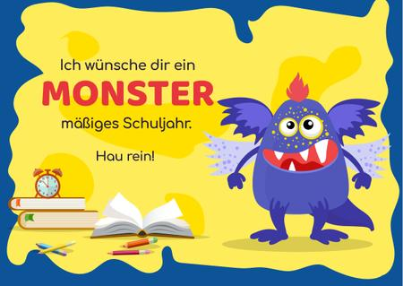 School Year Greeting with Monster Card Design Template