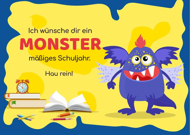 School Year Greeting with Monster Card Modelo de Design