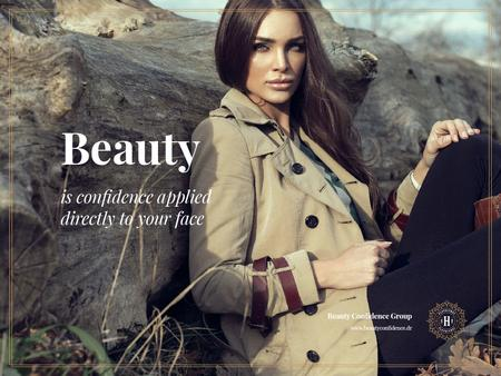 Beautiful Woman in Trench Coat Presentation Modelo de Design