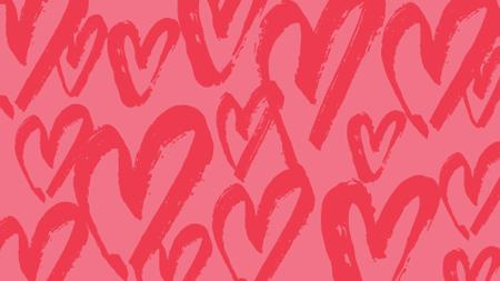 Plantilla de diseño de Red Hearts doodles pattern Zoom Background