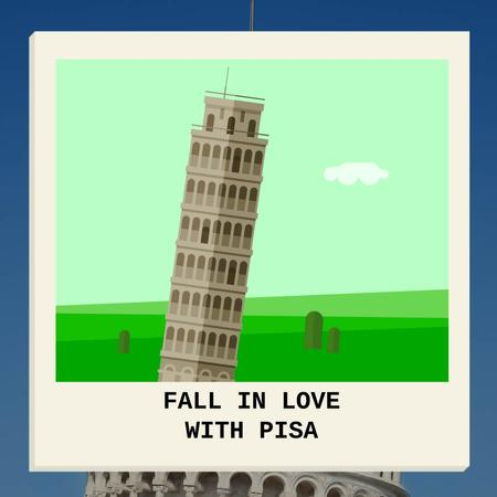 Modèle de visuel Leaning tower of Pisa - Animated Post