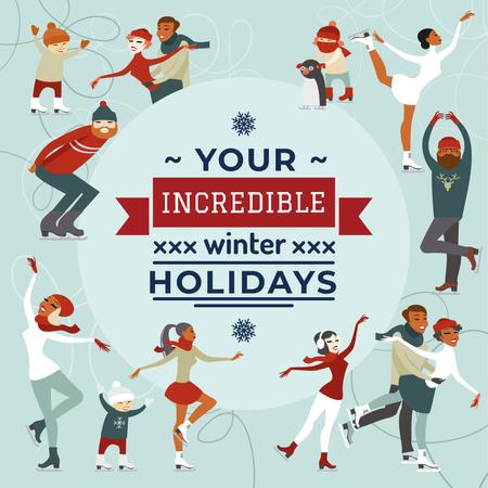 Plantilla de diseño de People doing Winter activities Instagram