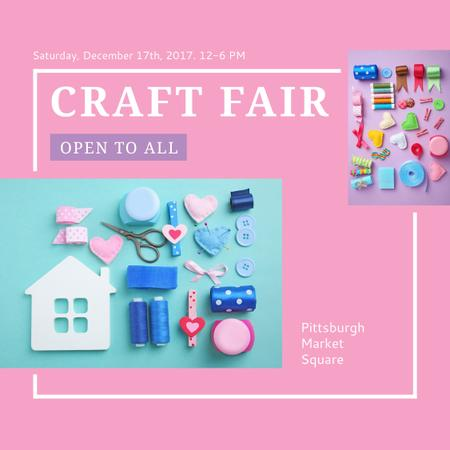 Szablon projektu Craft Fair with needlework tools Instagram AD