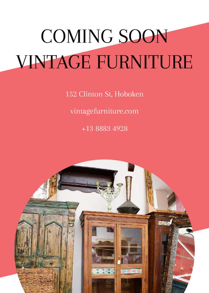 Vintage Furniture Shop Ad Antique Cupboard Flayer Modelo de Design