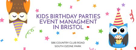 Modèle de visuel Birthday Party Management Studio Ad with Party Owls - Facebook cover