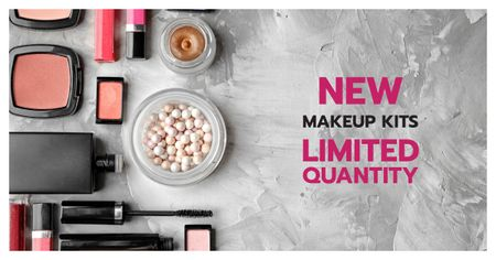 Plantilla de diseño de Makeup Brand Promotion with Cosmetics Set Facebook AD
