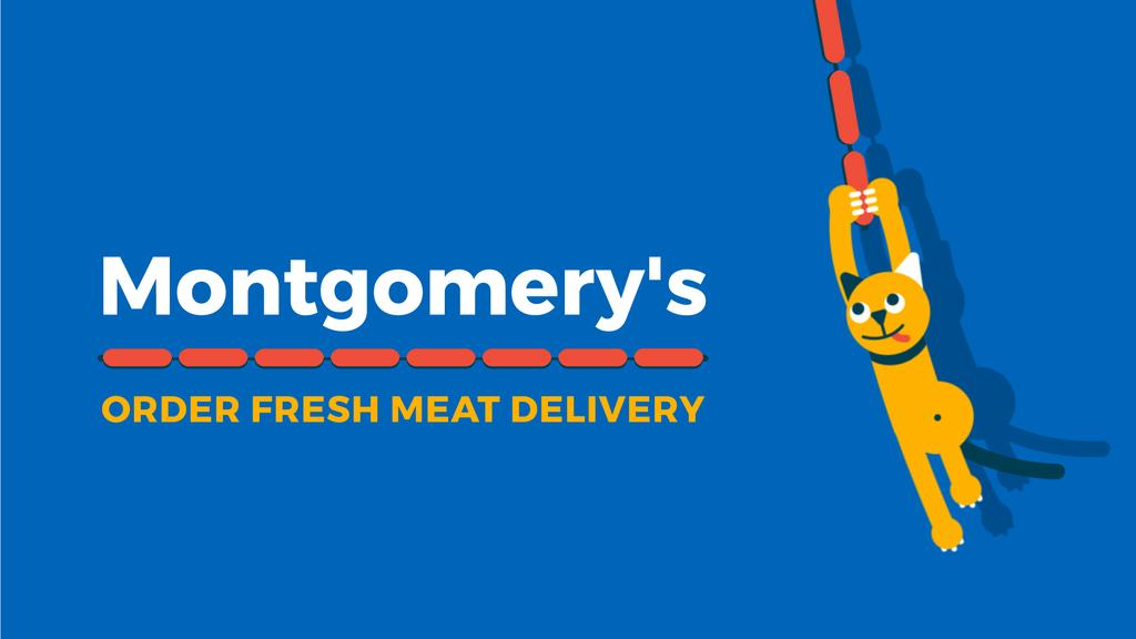 Butchery Offer Cat Swinging on Sausages — ein Design erstellen